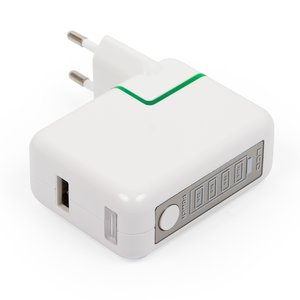 Mains Charger for Cell Phones; Tablets, (with Power Bank 2600mAh, 220 V, (USB output 5V 2A), white, USB type-A)